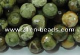 CRH58 15.5 inches 12mm faceted round rhyolite beads wholesale
