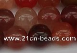 CRH604 15.5 inches 12mm round red rabbit hair quartz beads