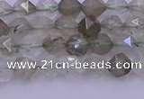 CRH611 15.5 inches 6mm faceted nuggets green rabbit hair beads