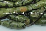 CRH70 15.5 inches 10*30mm faceted rice rhyolite beads wholesale