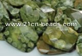 CRH80 15.5 inches 15*20mm faceted rectangle rhyolite beads wholesale