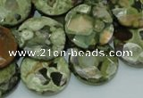 CRH87 15.5 inches 20mm faceted flat round rhyolite beads wholesale