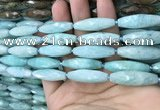CRI111 15.5 inches 10*30mm faceted rice amazonite gemstone beads