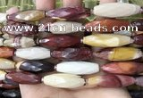 CRI140 15.5 inches 10*30mm faceted rice mookaite gemstone beads