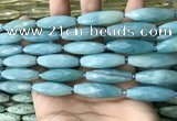 CRI146 15.5 inches 10*30mm faceted rice amazonite beads