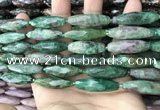 CRI148 15.5 inches 10*30mm faceted rice ruby zoisite beads