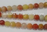 CRJ401 15.5 inches 6mm faceted round red & yellow jade beads