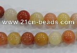CRJ414 15.5 inches 10mm round red & yellow jade beads wholesale