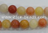 CRJ415 15.5 inches 12mm round red & yellow jade beads wholesale