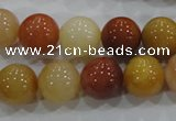 CRJ416 15.5 inches 14mm round red & yellow jade beads wholesale