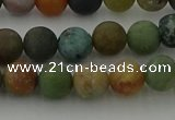 CRO1082 15.5 inches 8mm round matte Indian agate beads wholesale