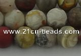 CRO1093 15.5 inches 10mm round matte laguna lace agate beads