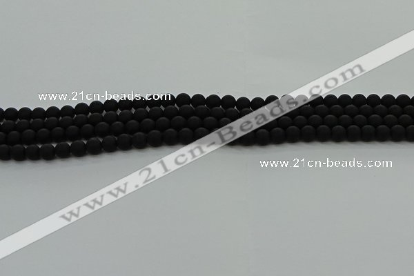 CRO1130 15.5 inches 4mm round matte black agate gemstone beads