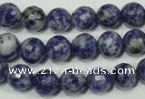 CRO773 15.5 inches 10mm faceted round blue spot stone beads wholesale