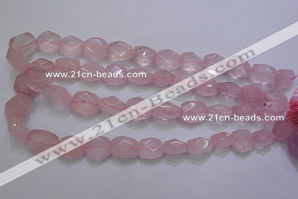 CRQ275 12*15mm – 15*19mm faceted nuggets rose quartz beads