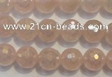 CRQ514 15.5 inches 12mm faceted round AB-color rose quartz beads