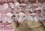 CRQ553 15.5 inches 14mm faceted coin rose quartz beads wholesale