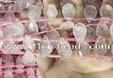 CRQ563 Top drilled 13*18mm faceted briolette rose quartz beads