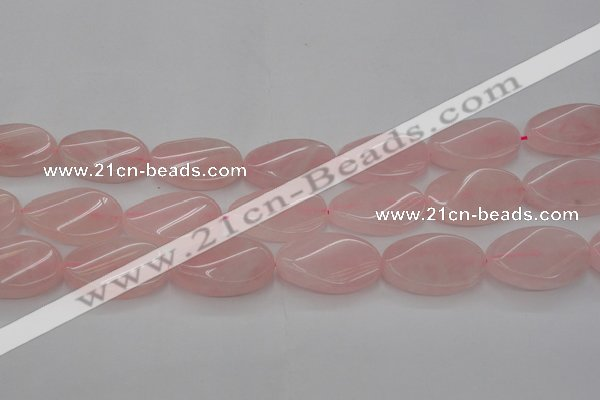 CRQ646 15.5 inches 20*30mm twisted oval rose quartz beads