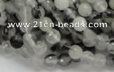 CRU01 15.5 inches 6mm faceted round black rutilated quartz beads