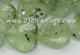 CRU108 15.5 inches 20*20mm heart green rutilated quartz beads