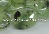 CRU116 15.5 inches 22*30mm faceted oval green rutilated quartz beads