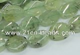 CRU122 15.5 inches 10*14mm twisted oval green rutilated quartz beads