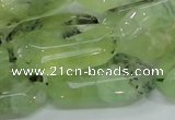 CRU128 15.5 inches 17*33mm faceted rectangle green rutilated quartz beads