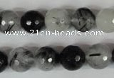 CRU315 15.5 inches 12mm faceted round black rutilated quartz beads