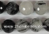 CRU317 15.5 inches 16mm faceted round black rutilated quartz beads