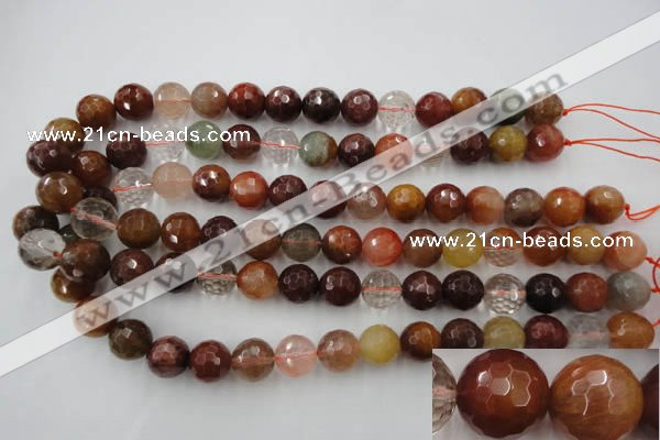 CRU415 15.5 inches 14mm faceted round Multicolor rutilated quartz beads