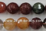 CRU416 15.5 inches 16mm faceted round Multicolor rutilated quartz beads