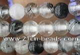 CRU535 15.5 inches 4mm round black rutilated quartz beads wholesale