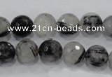CRU60 15.5 inches 12mm faceted round black rutilated quartz beads