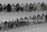 CRU66 15.5 inches 5*10mm rondelle black rutilated quartz beads