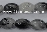 CRU73 15.5 inches 13*18mm rice black rutilated quartz beads wholesale