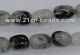 CRU77 15.5 inches 10*14mm nugget black rutilated quartz beads