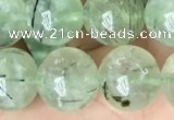 CRU814 15.5 inches 12mm round green rutilated quartz beads