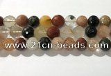 CRU916 15.5 inches 14mm faceted round mixed rutilated quartz beads