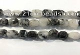 CRU940 12*18mm - 18*25mm faceted nuggets black rutilated quartz beads