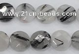 CRU97 15.5 inches 16mm faceted coin black rutilated quartz beads
