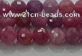 CRZ1122 15.5 inches 6mm faceted round natural ruby gemstone beads