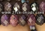CRZ1137 15.5 inches 4*6mm faceted rondelle ruby gemstone beads