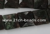 CRZ235 15.5 inches 15*15mm faceted square ruby zoisite gemstone beads