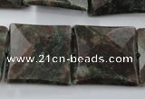 CRZ238 15.5 inches 25*25mm faceted square ruby zoisite gemstone beads