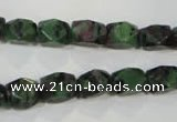 CRZ465 15.5 inches 7*10mm faceted nuggets ruby zoisite gemstone beads