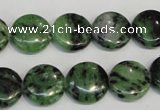 CRZ55 15.5 inches 14mm flat round ruby zoisite gemstone beads