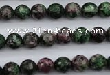 CRZ551 15.5 inches 9mm faceted round Chinese ruby zoisite beads