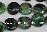 CRZ56 15.5 inches 16mm flat round ruby zoisite gemstone beads