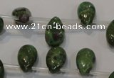 CRZ649 Top-drilled 9*14mm flat teardrop New ruby zoisite gemstone beads